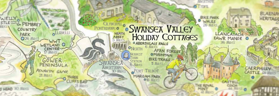 Close up of hand-drawn area map - Swansea Valley Holiday Cottages