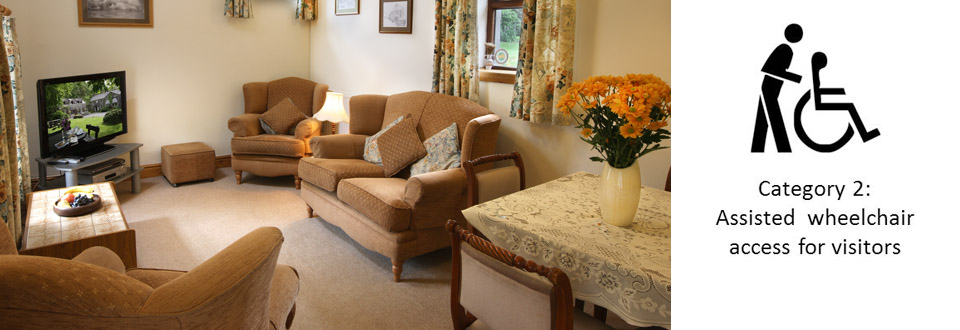 Accessible open plan lounge-diner in Bwthyn Y Saer self catering cottage