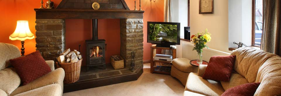 Log Fire in Hafod Y Wennol Holiday Cottage