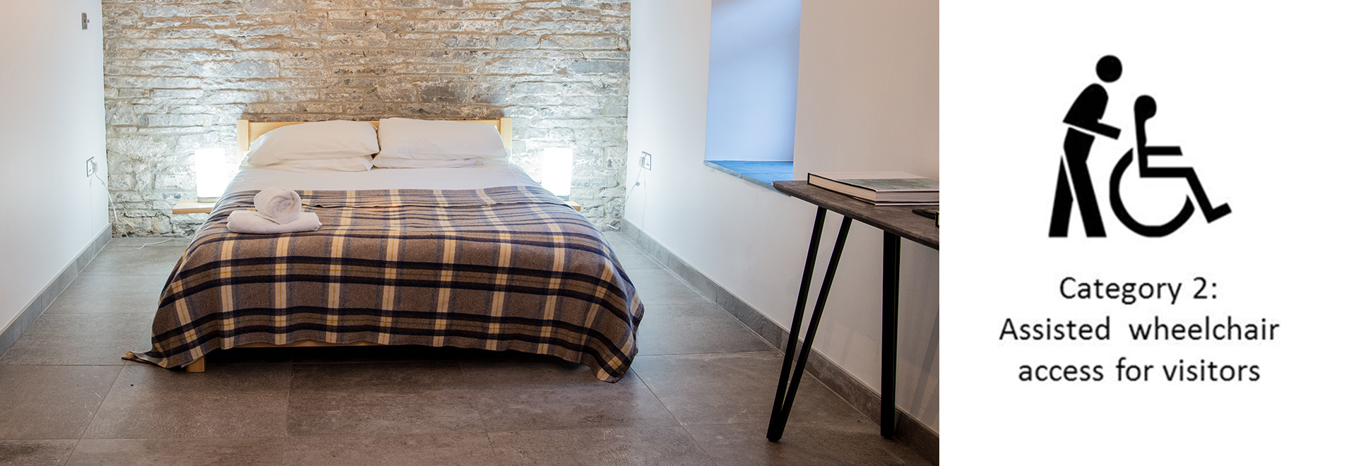 King Size Bed in Disabled Friendly Bwthyn Y Saer holiday cottage in South Wales