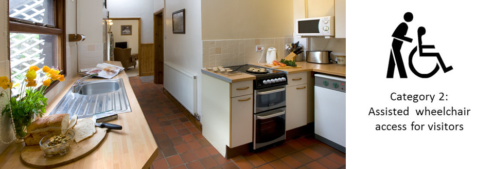 Tiled floor in Bwthyn Y Saer disabled friendly self catering cottage